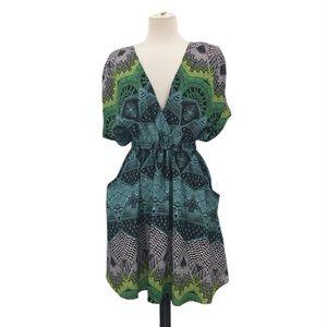 Mara Hoffman Deep V Cut Printed Short Sleeve Dress